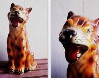 Antique ceramic tiger sculpture bengal tiger Asian wild cat animal savannah figurine large