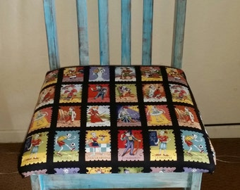 Hand painted, reupholstered chair
