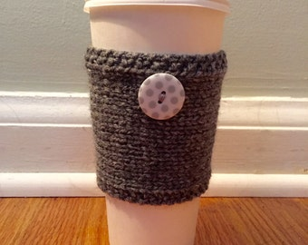 SALE: handmade knitted coffee cozy with polkadot button (in grey)