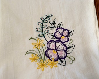 Embroidered pansies on white flour sack tea towel, dish towel, kitchen towel, machine embroidery, spring kitchen decor, gift for her