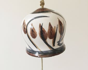 Vintage Navy and Brown Pacific Stomeware Ceramic Bell -- Ceramic Wind Chime -- Boho Home Decor
