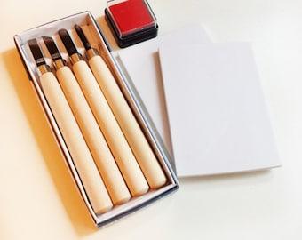 Rubber Stamp Kit - For Beginner - Carving Kit Set - Rubber Block - Eraser Block - Carving Kit - Rubber Stamp Kit -Ready to ship