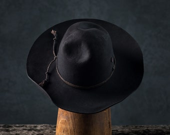 Black Wide Brim Old West Rugged Sun Hat. Distressed Outlaw Cowboy Hat