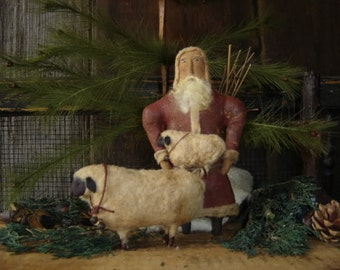 Primitive Folk Art Santa and Sheep Ornament