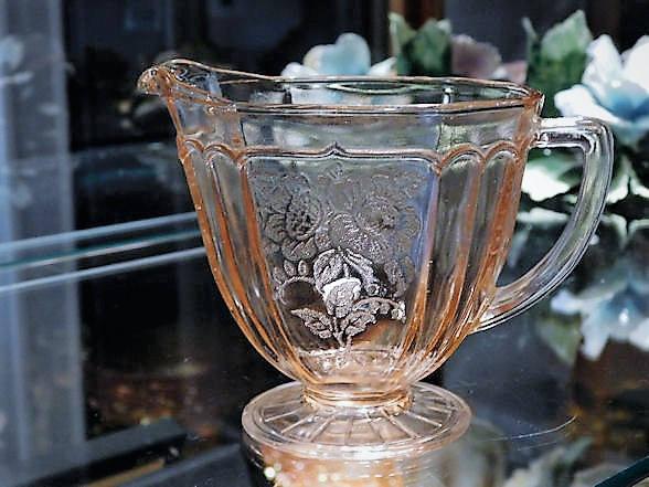 Pink Depression Glass / Mayfair / Open Rose / Creamer