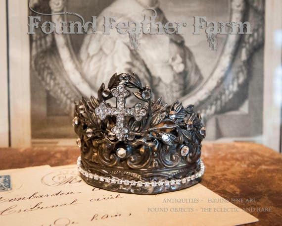 Handmade Repousse Brass Crown with Acanthuis Flourishes and a Rhinestone Cross
