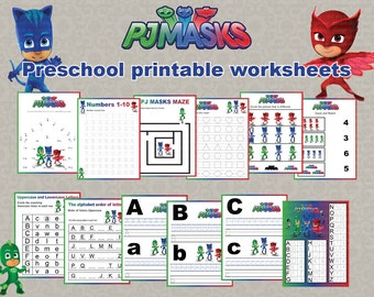 Instand DL - PJ Masks Preschool printable worksheets package- activities - school Learning Pack- (NON Personalized)