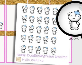 Migraine tracker planner sticker Doodle planner stickers Emoti planner stickers