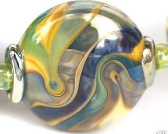 Lampwork glass beads Metalic Waves Lampwork beads (8) SRA, jewelry supplies, handmade lampwork, beads