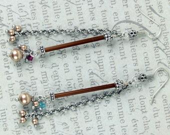 Bugle Bead Earrings, Chain Earrings, Pearl Earrings, Swarovski Earrings, Boho Earrings, Gypsy Earrings, Brown Earrings, Dangle Earrings