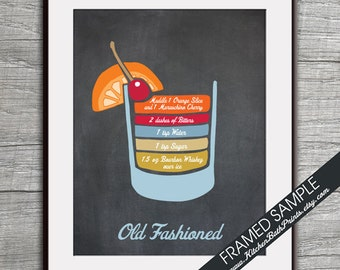 Old Fashioned Recipe Diagram (Bourbon Whiskey Martini Cocktail)  Art Print (Featured Vintage Chalkboard) Cocktails and Mixers Recipe Chart