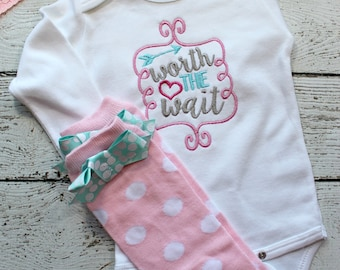baby girl coming home outfit,  Take home outfit, Worth the Wait baby shirt, legwarmers and headband, pink and aqua, embroidered baby girl