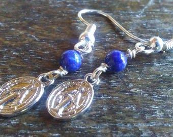 Lapis Lazuli Miraculous Medal Earrings