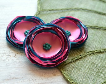 Large satin flower appliques, fabric flowers, floral embellishments, fabric flower appliques, satin craft flowers (3pcs)- PINK and TURQUOISE