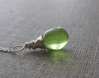 Light Green Necklace Pendant. Teardrop Sterling Silver Pendant. Briolette Pendant. Wire Wrapped Pendant. Wedding Pendant. UK Seller