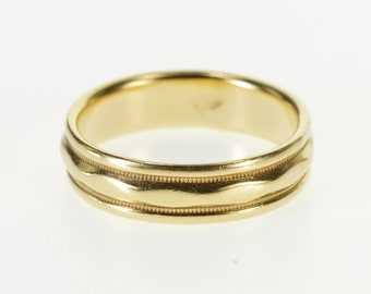 14k Milgrain Grooved Wavy Pressed Patterned Band Ring Gold