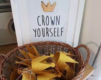"""Crown Yourself Printable Sign,  Wild One Birthday, Wild, Where The Wild Things Are Birthday Party or Baby Shower, 8"""" x 10"""" Instant Download."""