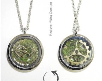 "Necklace ""Steam fairy"", Moss, brass, silver necklace, steampunk gears, glass, jewelry for women"