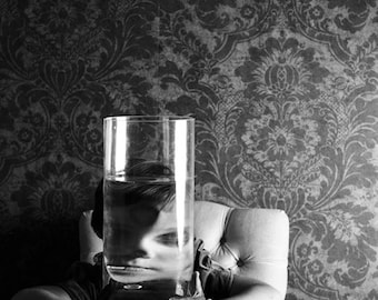 Distortions - FREE SHIPPING - Surreal Photo Print Girl Child Portrait Glass Water Face Creepy Black White Gray Dark Poster Decor Wall Art