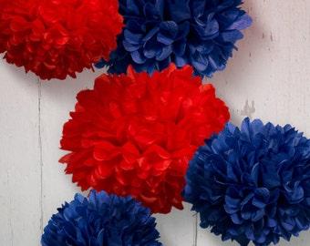 Tissue Paper Pom Poms - Set of 5 - Nautical decor//Boy's Baby Shower//Nursery//Navy Decor