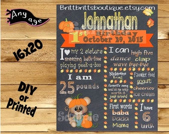 First Birthday Chalkboard sign  1st birthday fall mouse chalk board photo prop customized first birthday poster digital file or printed