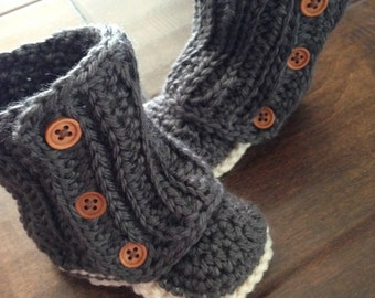 Baby Uggs - Crochet Wraparound Baby Boots - Ivory and Tan//Charcoal and Ivory - Custom made - buttons - Jay's Boutique