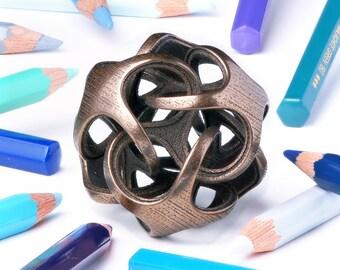 Metatrino Sculpture -- elegant geometry art 3D printed in steel with bronze finish.  Handheld or keychain size