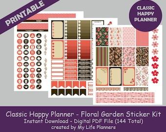 Floral Garden CLASSIC Happy Planner Printable Stickers, Weekly Kit, Planner Kit, Printable Stickers, CLASSIC Happy Planner, Instant Download