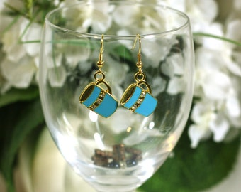 Blue Hot Chocolate Charm Earrings with gold and rhinestones - Winter Christmas Theme Costume Holiday Jewelry Accessories