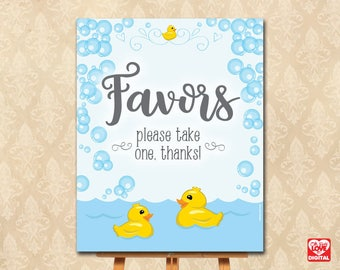 Rubber Duck Baby Shower Printable Favors sign, Giveaaway sign, Duck Baby Shower, Rubber Ducky, 8x10 Instant Download, Rubber Duck, JPG