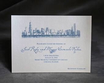 Chicago Skyline - Wedding Invitation - Chicago  Lakefront Custom Invitation