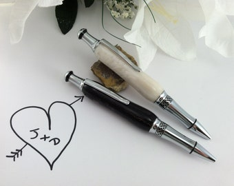 Bride and Groom Wedding Pen Set - Hand-Crafted White and Black Pearl His and Hers Wedding Guest Book Pens - Free Engraving