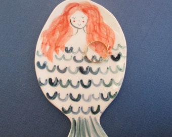 Ceramic red mermaid Etsy