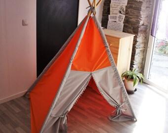 big kids teepee teepee tent tent play tent NO WOOD POLES tipi enfant play teepee orange teepee grey teepee