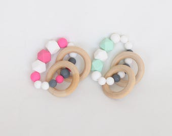 TEETHER & RATTLE in 1!  Silicone Teether with Solid Birch Rings