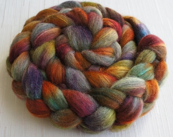 Grey Merino /Tussah Silk Top Wool Roving - Hand Painted Felting or Spinning Fiber -100g