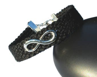 "Cuff friendship bracelet, model ""Infinity"", black"