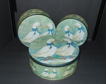Blue Goose Round Tins,Blue Goose Tin Set,Blue Goose Tins,Blue Goose Container Tins,Blue Goose Christmas Tin,Three Blue Goose Tins,Blue Goose