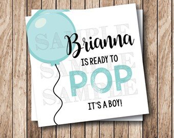 Personalized Printable Ready to Pop Tags, Printable Baby Shower Tags, Ready to Pop Balloon Tags