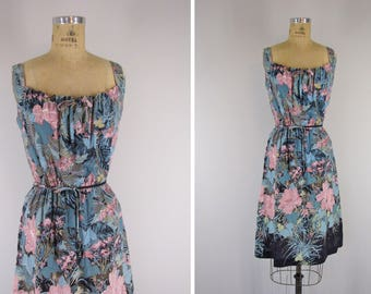1980s Vintage Dress / 80s Floral Print Sundress