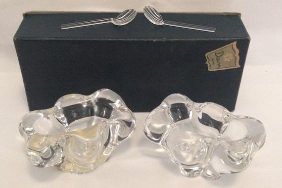 FREE SHIPPING-Fantastic-Pair-Daum-France-Crystal-Open-Salt-Cellars/Dip-With 2 Original Shell Shaped Spoons-In Original Box