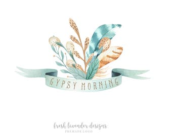Bohemian Logo, Logo with Feathers, Custom Logo, Custom Logo Design, Feather Logo, Gypsy Logo,  Boho Logo, Photography Logo, Logo Branding