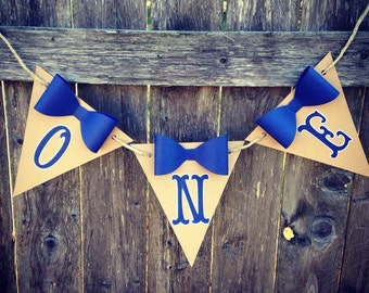 Navy Blue 1st Birthday Banner. Boy High Chair banner. Little man party banner. Bow tie Birthday.