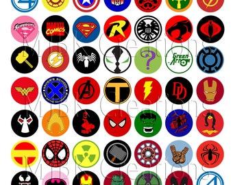 "Superhero Logo 1"" Bottle Cap Images - 8.5 x 11 Digital Collage Sheet - Instant Download"