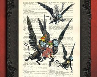 Wizard of oz art, flying monkey scene poster, vintage oz illustration on book page