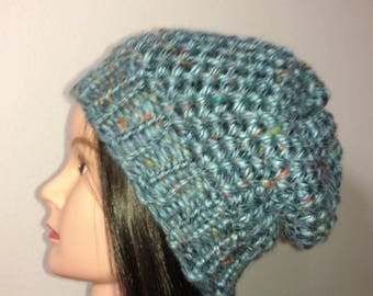 Beautiful winter hat beanie slouchy blue with flecks of yellow/blue/orange/red