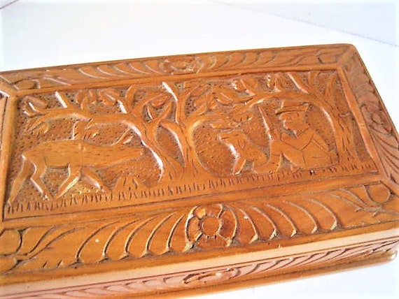 Trinket Box, Carved Wooden Box, Deer Man Dog, Hand Crafted, Signed Numbered, Collectible