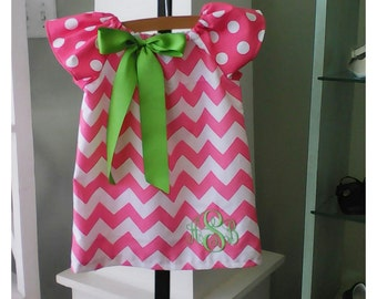Easter pink dress with purple/lavender ribbon and monogram
