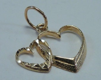 14K Yellow Gold Two Hearts Charm/Pendant