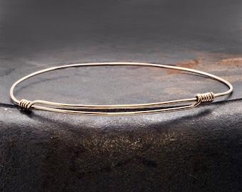 Gold Expandable Bracelet, Man/Woman 14k Gold Filled Adjustable Thin Wire Bangle Bracelet, Men Gold Bangle Minimalist Bracelet, Men Jewelry